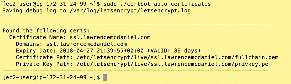 LetsEncrypt On Amazon Linux + Apache - Lawrence McDaniel